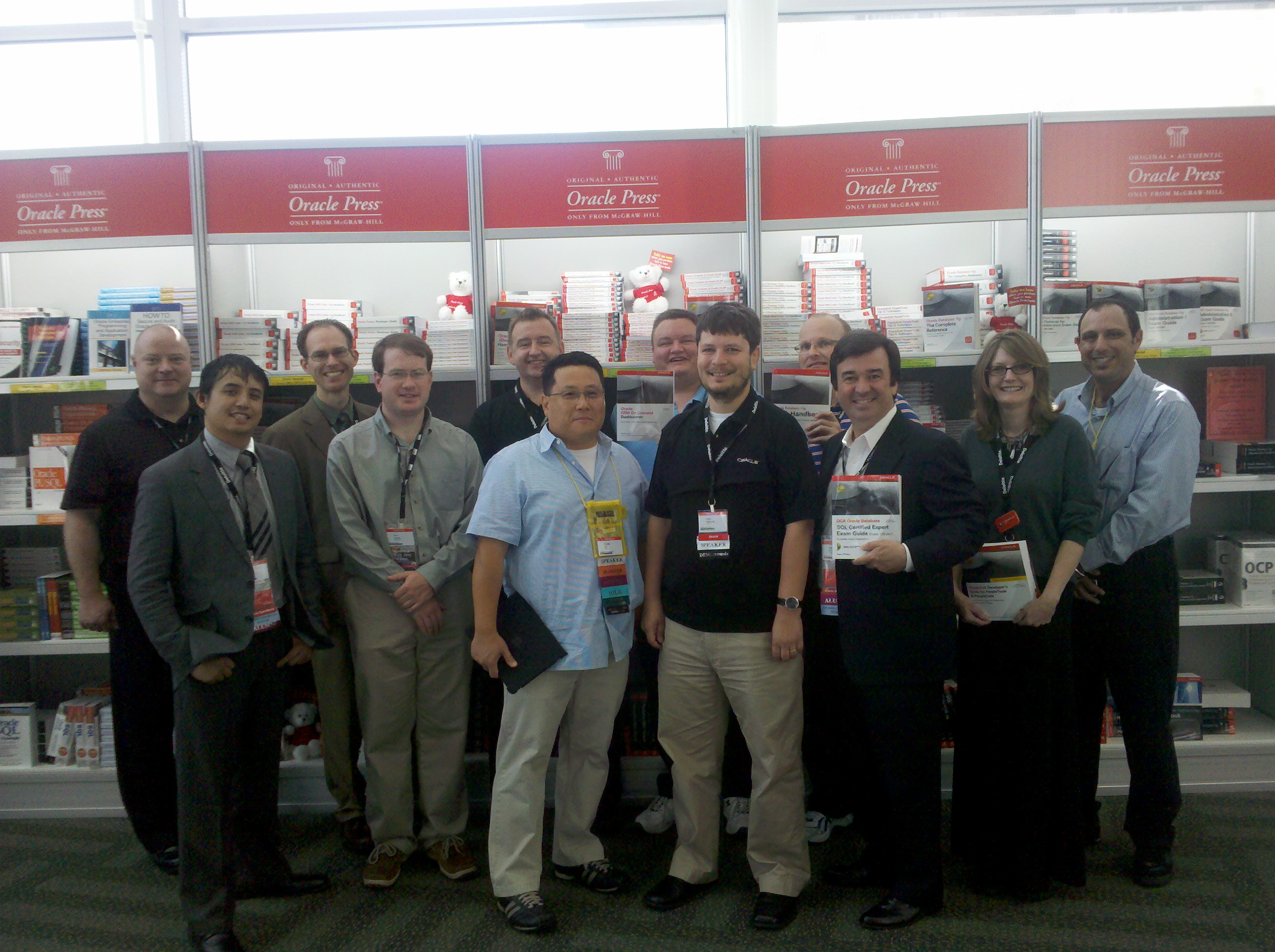 Steve o hearn of corbinian is third from the right holding a copy of his latest work oracle sql expert certification exam guide from oracle press